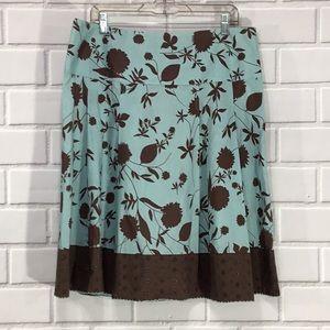 Merona 100% Cotton Skirt brown soft mint 14